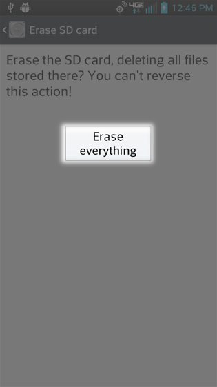 Storage Erase SD card screen select Erase everything