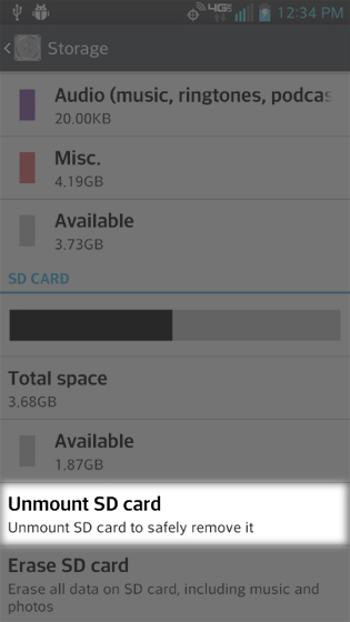 Storage select Unmount SD card