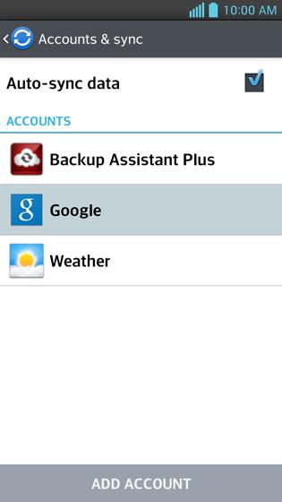 Cuentas y sincronización, Google