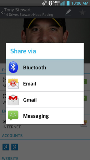 Pantalla Share via, Bluetooth