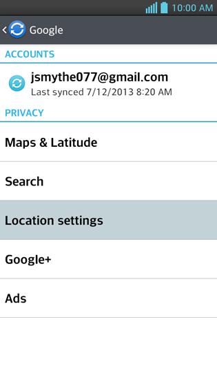 Cuenta de Google, Location Settings