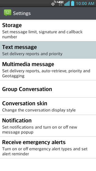 Message settings, Text message