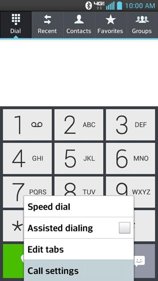 Menú del teléfono, configuraciones de llamada