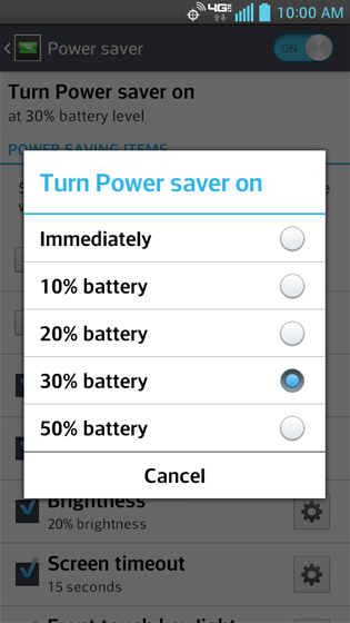 Turn power saver on, options