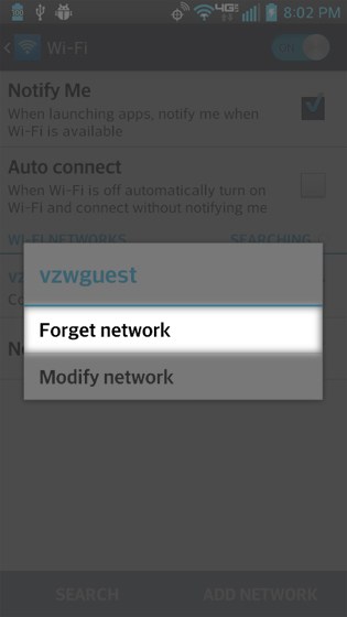 Wi-Fi connection details select Forget network