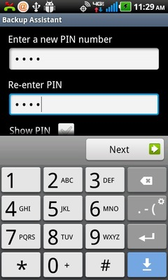 Enter a new 4-8 digit PIN, re-enter the PIN then select Next
