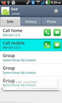 Selecciona el ícono del teléfono verde (junto al número a marcar)