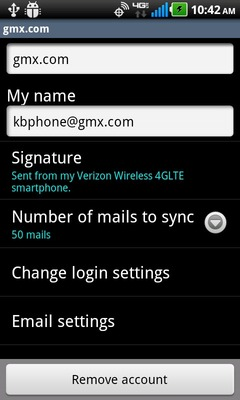 Select Number of mails to sync