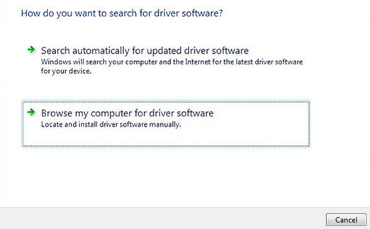 Click Browse my computer for driver software