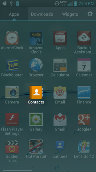 From the Apps screen, select Contacts