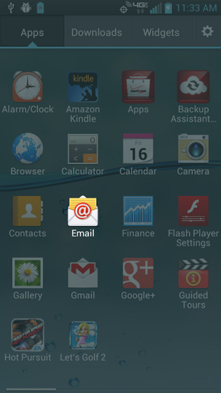 Apps screen select Email
