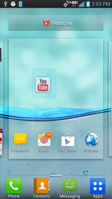Acceso directo con pantallas de inicio disponibles