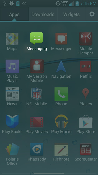 Apps screen, select Messaging