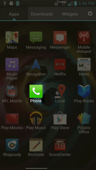 Apps screen select Phone