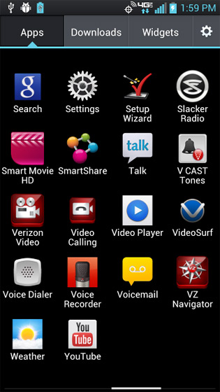 Apps screen with available applications