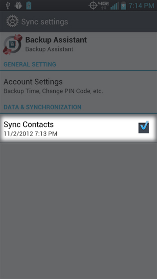 Backup Assistant sync date and time