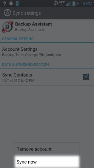 Backup Assistant select Sync now