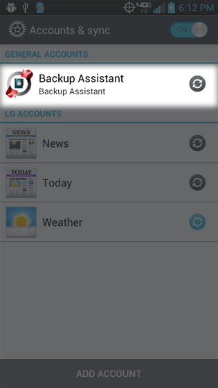 Settings select Backup Assistant