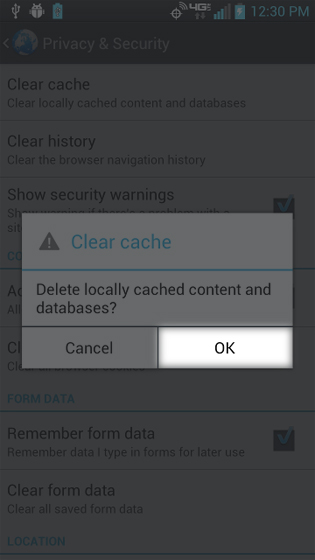 Browser Clear Cache Select OK