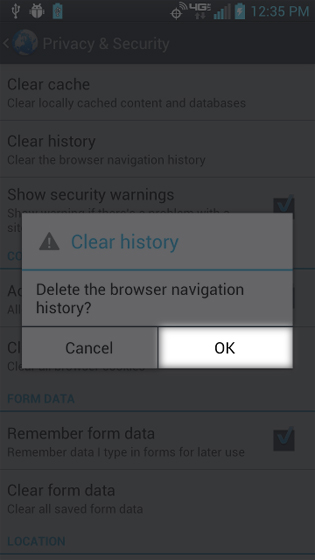 Browser Clear History select OK