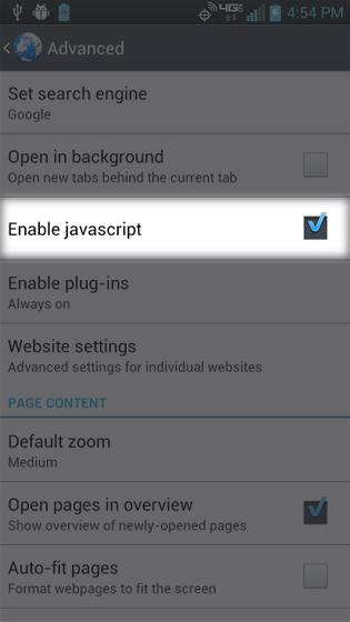 En el navegador, Settings, selecciona Enable JavaScript
