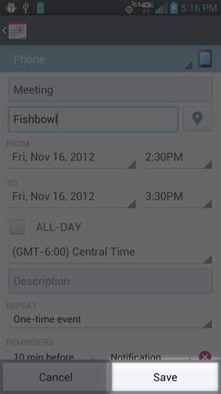 Calendar, ingresar detalles