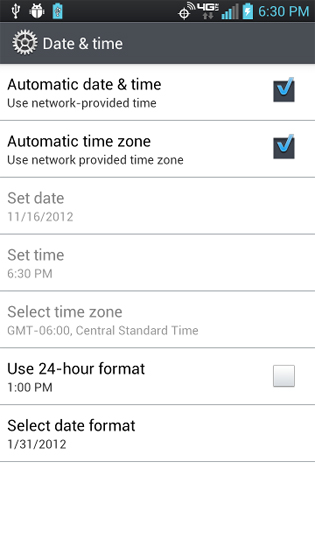 Settings date & time settings