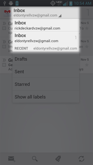 Gmail select the account