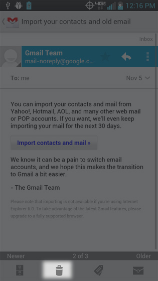 Gmail select Delete