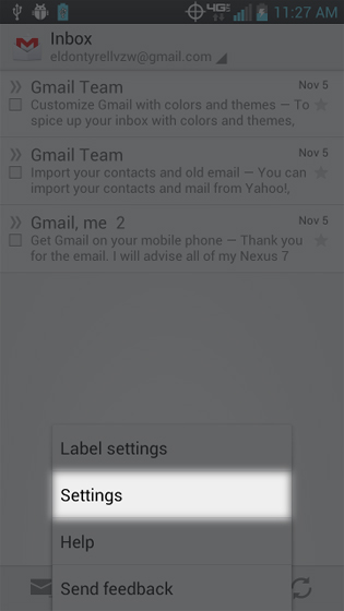 Gmail select Settings