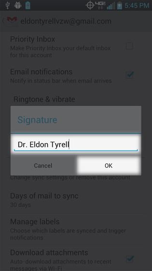 Ingresa/borra la firma de Gmail y luego selecciona OK