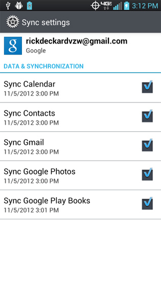 Gmail Sync select the services