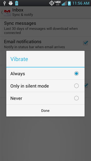 Gmail select vibrate options
