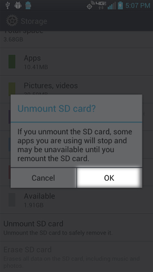 Storage unmount SD card select OK