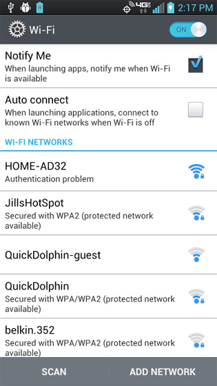 Wi-Fi select and hold the network