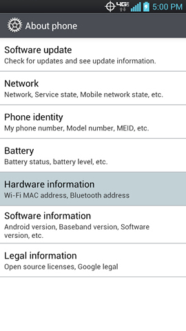 About phone with Hardware information
