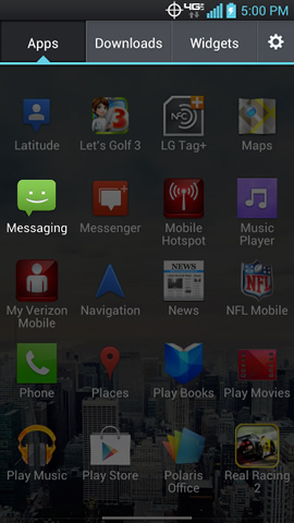 App menu with Messaging