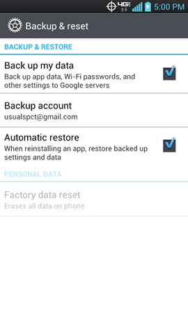 Backup & reset with BACKUP & RESTORE settings