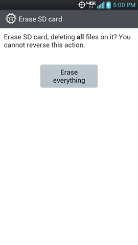 Erase SD card screen with Erase everything