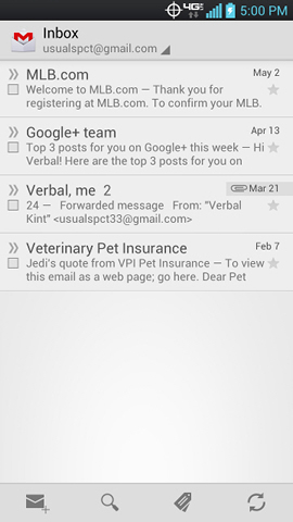Gmail Inbox with available messages
