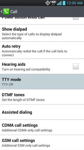 Call settings con opción TTY mode