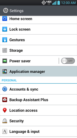 Settings, Application manager