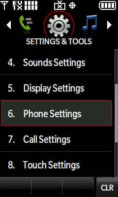 Phone Settings menu