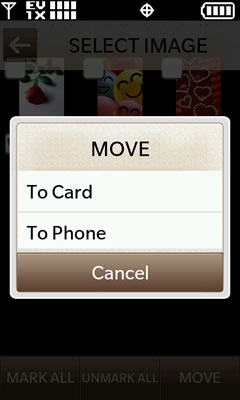 Move to card or move to phone