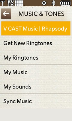 Vcast music Rhapsody
