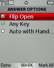 Answer Options screen