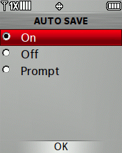 Auto Save Sent options screen