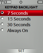 Keypad Backlight screen