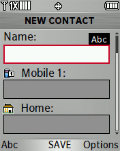 New Contact screen