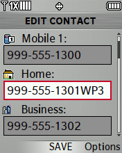 Contact edit screen